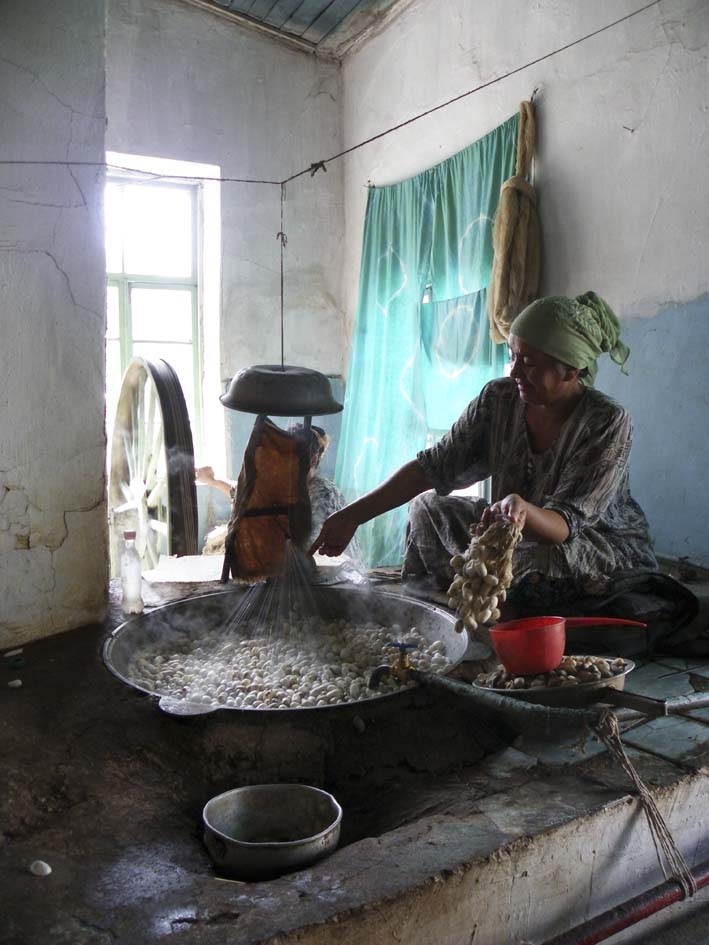 Boiling the cocoons to unwind the silk thread. All photos Sarah Callaghan
