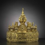 Cosmos offering mandala, China, Qianlong period (1736-1796), gilded bronze, 37.5 x 35.1 cm. Paris, musée Guimet - musée national des Arts asiatiques © RMN-Grand Palais (Musée Guimet, Paris), Photo: Thierry Olivier
