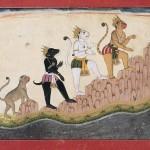 Hanuman, Angada, and Jambavan climb Mount Mahendra, circa 1720, India, western Pahari region, Himachal Pradesh, opaque watercolours and gold on paper, Museum Rietberg Zurich. Photograph © Rainer Wolfsberger.