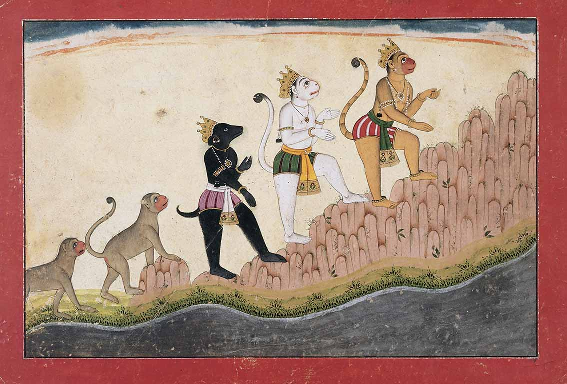 Hanuman, Angada, and Jambavan climb Mount Mahendra, circa 1720, India, western Pahari region, Himachal Pradesh, opaque watercolours and gold on paper, Museum Rietberg Zurich. Photograph © Rainer Wolfsberger.
