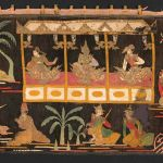 Rama bending the bow, scenes from a Burmese version, circa 1850-1900, Burma, cotton, wool, silk, and sequins, Asian Art Museum