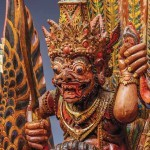 The demon king Ravana riding a mythical bird, circa 1800-1900, North Bali, colours and gold on wood, Asian Art Museum, acquisition made possible by the Connoisseurs' Council and the estate of K Hart Smith