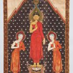 Standing Buddha supported by Hanuman, circa1825-1875, Thailand, paint and gold on cloth, Asian Art Museum, Gift of John Kerry Little