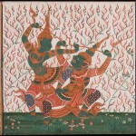 Rama & Ravana in combat, circa 1800-1840, Central Thailand, opaque watercolours and gold on paper, Asian Art Museum, Gift from the Doris Duke Charitable Foundation
