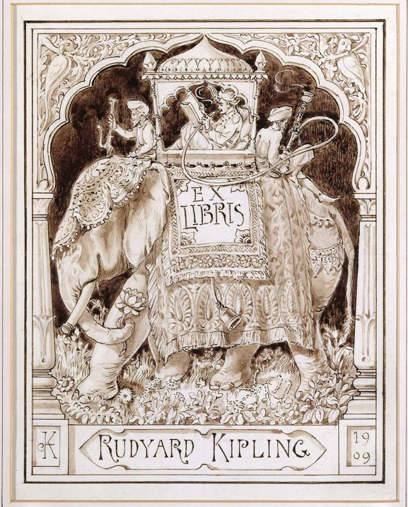Rudyard Kipling's bookplate 'Ex Libris,' by Lockwood Kipling, 1909© National Trust Images / John Hammond