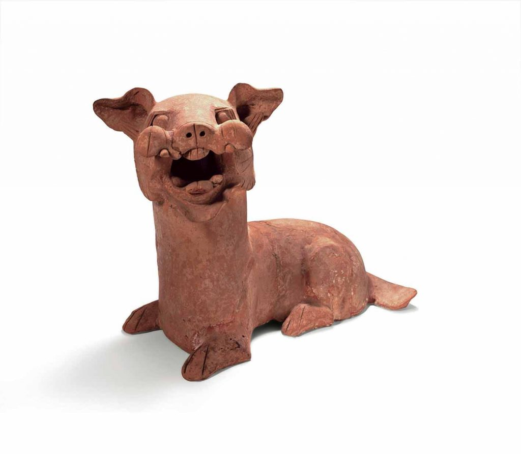 Dog, Eastern Han dynasty (AD 25-220), earthenware, height 42.5 cm, unearthed in 1987, Dongguan, Nanyang, Henan Province. Photo: Courtesy Henan Museum, Zhengzhou