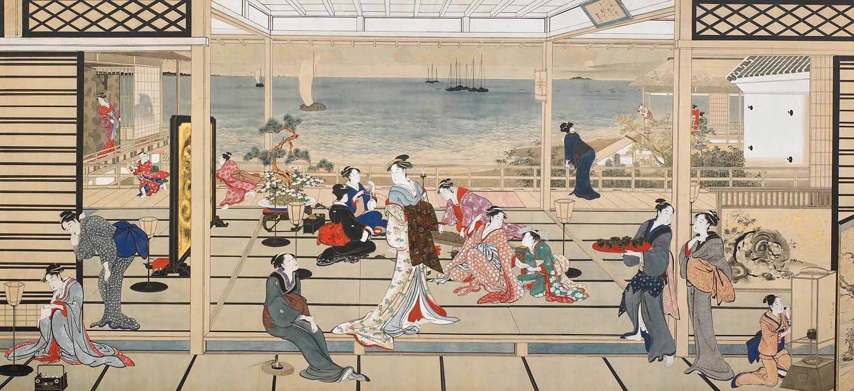 Moon at Shinagawa (also known as Moonlight Revelry at Dozo Sagami) by Kitagawa Utamaro (1753-1806), Japan, Edo period, circa 1788, painting mounted on panel, colour on paper, Freer Gallery of Art. Gift of Charles Lang Freer