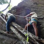 The climb to access the rock art at Kurullangala