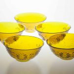 Yellow bowls with chrysanthemum design, mould-blown, Edo period 1711-1781, height 6.8 cm, mouth diameter 13.8 cm