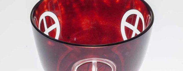 Satsuma kiriko copper red overlay glass bowl with cross design, Edo period, 1846-1863, height 7.7 cm, mouth diameter 11.3 cm