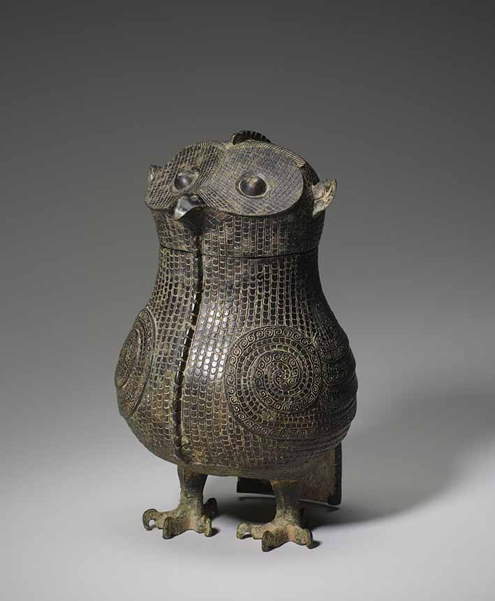 Wine vessel (zun), in the shape of an owl, late Shang dynasty, 13th/12th century BC, Bronze, 31.75 x 20.96 cm. Bequest of Alfred F Pillsbury. All photos: Minneapolis Institute of Art