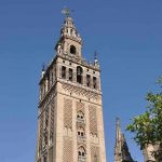 The Giralda tower, the only surviving building from the original grand mosque, now part of Seville's cathedral