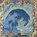 Waves (1845), attributed to Hokusai, with frame paintings completed by Takai Kozan (1806-1883). Two ceiling panels for a festival cart, ink and colour on paulownia wood. Hokusaikan, Obuse, Nagano Prefectural Treasure.On display to 13 August