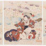Actors Onoe Kikugoro III as Nagoya Sanza (R), Iwai Hanshiro VI (C), and Ichikawa Ebizo V as Fuwa Banzaemon (L), about 1835-36, Utagawa Kuniyoshi