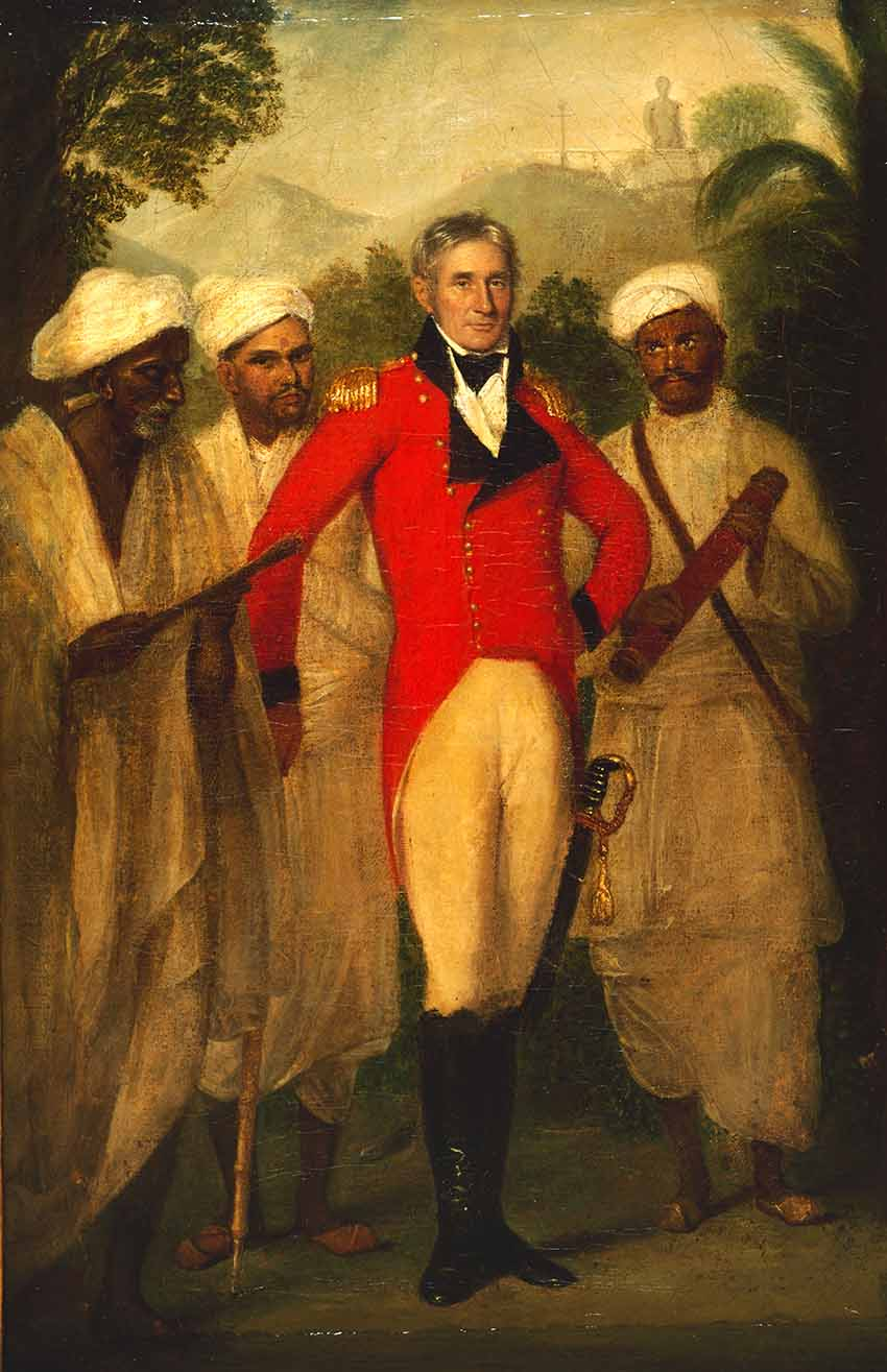 Portrait of Colin Mackenzie with three Indian assistants by Thomas Hickey, 1816. (F13) Reproduced by permission of the British Library.