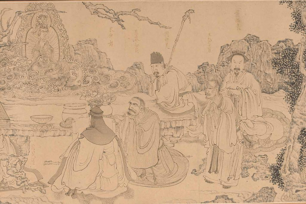 An Elegant Gathering by Chen Hongshou, circa 1646-47, detail, handscroll, ink on paper, 29.8 x 298.4 cm, Shanghai Museum