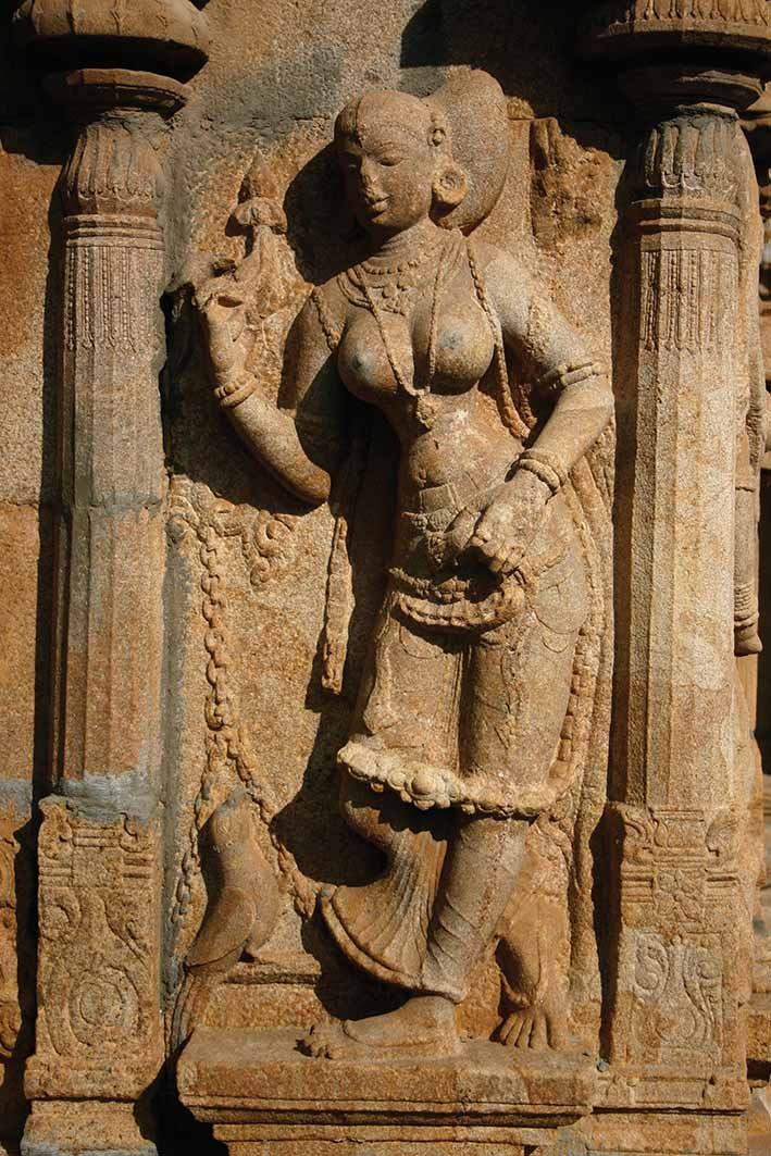 Temple sculpture of a devadasi in South India. Photo: Claire Scobie