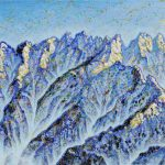 The Light at Cheonhwadae Peaks (2014) by Sin Jangsik, Korean (b 1959), from the series Twelve Scenes of Mount Geumgan, Korea, acrylic on canvas and Korean paper image 64 × 98 cm, lent by the artist