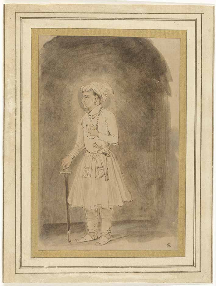 Jahangir by Rembrandt Harmenszoon van Rijn (Dutch, 1606-1669), about 1656, brown ink on paper, unframed 18.3 x 12 cm. Credit: Rijksmuseum, Amsterdam.