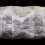 Once Upon a Time (2017 by Kyoko Ibe (b 1941), washi paper, ink and minerals, one of a pair of 6-panel folding screens, 160 x 360 cm each, Erik Thomsen