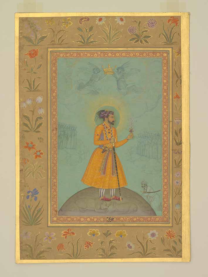 Jujhar Singh Bundela Kneels in Submission to Shah Jahan by Bichitr (Mughal, active 1615-1650) with details by Harif, about 1630, gouache and gold on paper, unframed: 39 x 27.3 cm. Credit: Trustees of the Chester Beatty Library © Trustees of the Chester Beatty Library, Dublin
