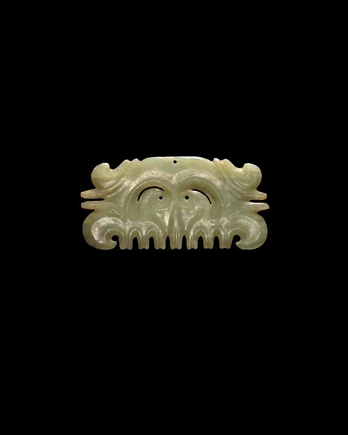 Neolithic jade toothed mask ornament, Hongshan Culture, circa 3800-2700 BC, length 11 cm, JJ Lally