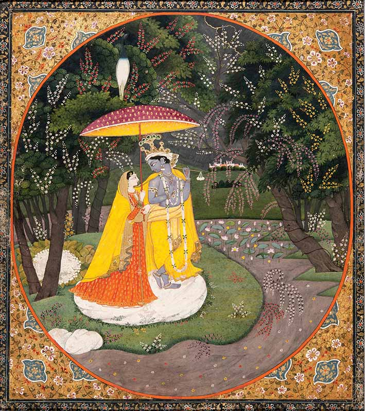 Radha and Krishna in the much-coveted style of the artist Phuruku, sheltering under a parasol in a storm at night, enclosed by a bower of superb flowering trees, Kangra, circa 1820, Forge & Lynch