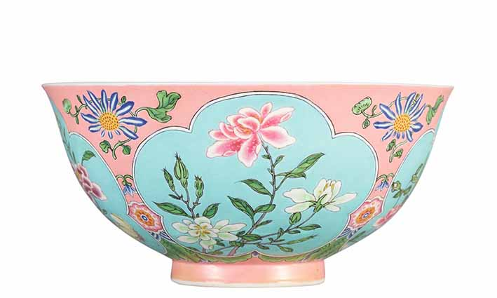 Enamelled, pink-ground falangcai bowl, Kangxi period, diam. 14.5 cm, from the HM Knight Collection, estimate on request, Sotheby's Hong Kong, 3 April