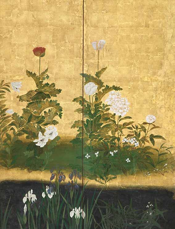 Flowers of the Four Seasons (detail), Rinpa School, pair of six-panel folding screens, ink, mineral colours and gofun on paper with gold leaf, Edo period (1615-1868), 18th century, each screen 165 x 361 cm, Erik Thomsen