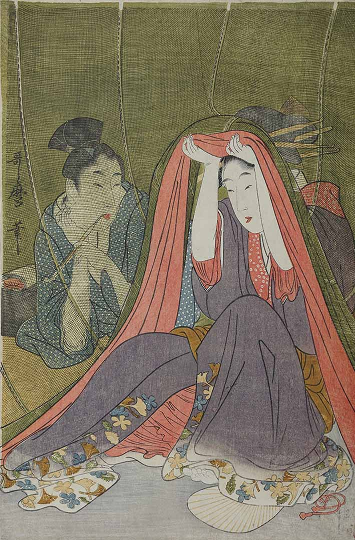 Courtesan and Her Guest Beneath a Mosquito Net by Kitagawa Utamaro (1754-1806), circa 1800, signed Utamaro hitsu, colour woodblock print, 39.1 x 26 cm, Sebastian Izzard Asian Art