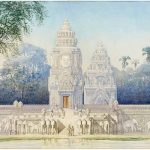 Phimeanakas, palace of the Khmer kings in the centre of Angkor Thom (circa 1890) by Louis Delaporte, pencil, watercolour, gouache, and gold paint on paper. As early as 1860 Henri Mouhot had realised that the remains of walls surrounding the small temple of the Phimeanakas represented the palace of the Khmer kings. Delaporte devoted himself to the study of the building during his 1873 mission. On his return to Paris he produced three ideal views of the eastern façade