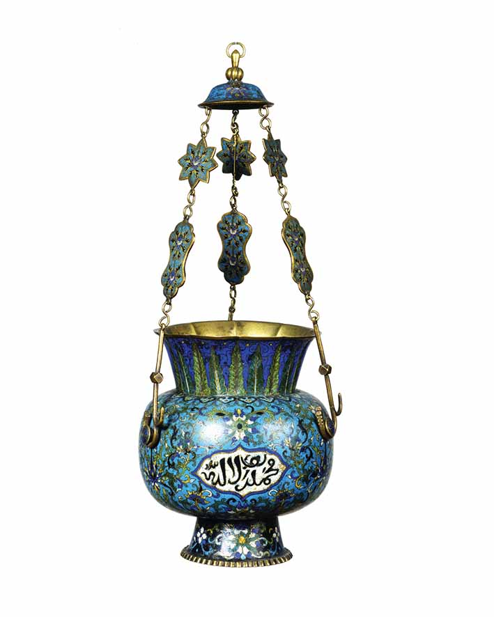 Lamp, China. 19th century, bronze with cloisonné enamel decoration, height 55.5 cm (including chain & top ring), diam. 23 cm (lamp), David Collection, Copenhagen