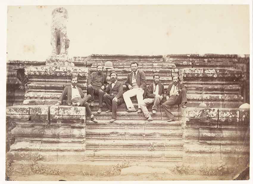 Members of the 1866 Mekong Exploration Commission at Angkor Wat (1866) by Emile Gsell, albumen print, 16.5 x 22.8 cm. From left to right: Ernest Doudard de Lagrée (1823–1868), Louis-Marie de Carné (1844–1871), Clovis Thorel (1833–1911), Lucien Joubert (1832– 1893), Louis Delaporte (1842–1925), Francis Garnier (1839–1873). All images Guimet Museum, Paris