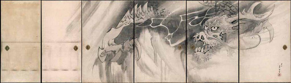 Tiger (1786) by Nagasawa Rosetsu (1754-1799), detail from a set of six sliding door panels, ink on paper, Muryo-ji, Kushimoto. Important Cultural Property