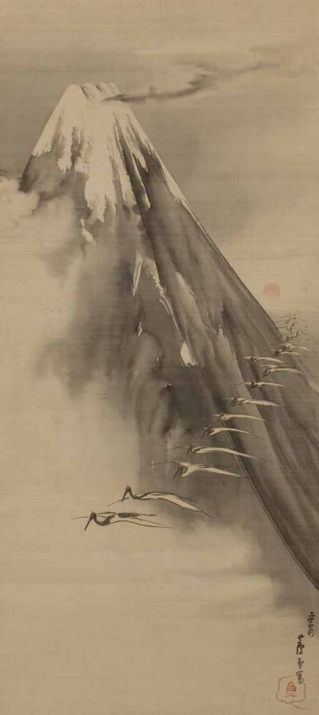 Cranes Flying Past Mount Fuji (1794) by Nagasawa Rosetsu, hanging scroll, ink and light colour on silk. Private collection, Japan