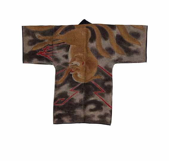 Quilted winter jacket (hanten) with motifs from the legend of nine tails fox, Edo period, 19th/20th century, Miyoshi City Collection