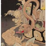 The Heavy Basket (1892) by Tukioka Yoshitoshi (1839-1892) from the series New Forms of 36 Ghosts, Miyoshi City Collection