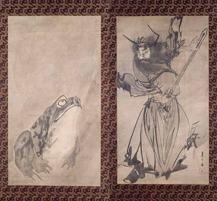 Shoki the Demon Queller and Toad (1787) by Nagasawa Rosetsu, pair of hanging scrolls, ink on paper. Private collection, Japan