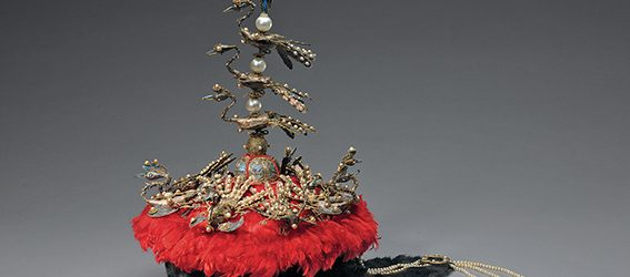 Court hat with phoenixes. Probably Imperial Workshop, Beijing, 18th or 19th century, sable, velvet, silk floss, pearls, tiger's-eye stone, lapis lazuli, glass, birch bark and metal with gilding, and kingfisher feather, Palace Museum © The Palace Museum