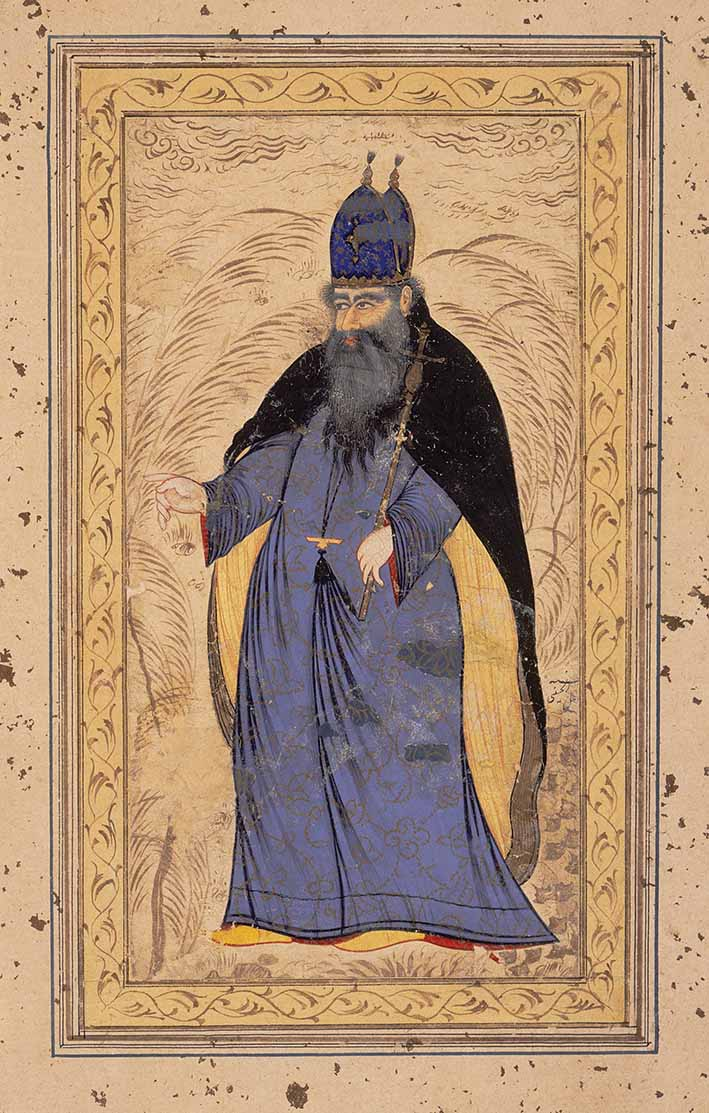 An Armenian Bishop, Isfahan, circa 1650, by Afzal al-Husayni (active 1630s-1660s), ink, opaque watercolour and gold on paper, 29.2 x 41.9 cm, Los Angeles County Museum of Art, The Nasli M Heeramaneck Collection, gift of Joan Palevsky