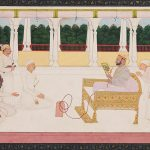 Raja Balwant Singh Viewing a Painting with Nainsukh by Nainsukh of Guler, 1745–50, Jasrota, Pahari region, India, Gift of Balthasar and Nanni Reinhart, Barbara and Eberhard Fischer, Museum Rietberg