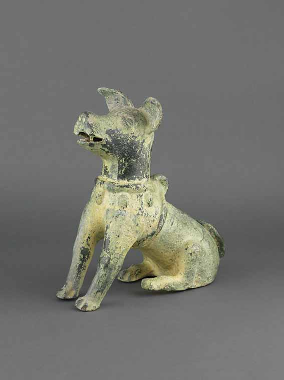 Chinese green glazed pottery model of a seated dog, China, Eastern Han dynasty, 1st/2nd century, China, height 33 cm, Marchant
