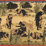 Fight of drunken monkeys and bears by Pandit Seu of Guler, folio from the (small-format) Ramayana series, circa 1720, Guler, Pahari region, India, Museum Rietberg
