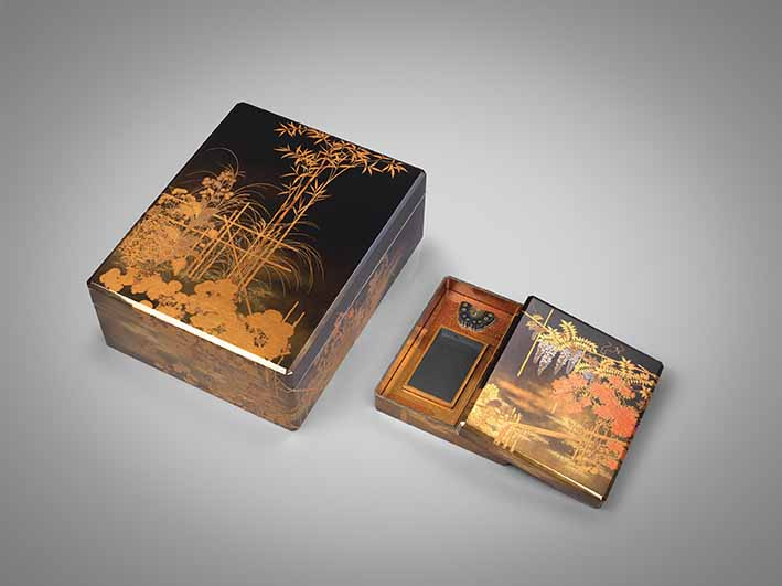 Set of lacquer writing and document boxes with Spring and Autumn flowers, plants, gulls, and waves by Koda Shuetsu (1881-1933), Taisho era (1912-1926), circa 1920, document box: 15.5 x 42.8 x 34.5 cm, writing box: 5.0 x 26.4 x 23.3 cm, Grace Tsumugi Fine Art