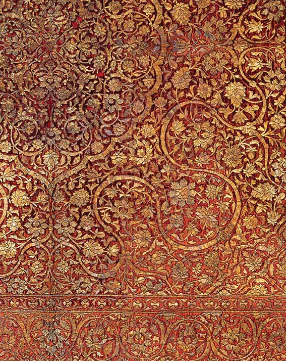 A royal canopy with cloud bands and arabesques, Golconda, Deccan, India, circa 1580, gold and silver wire on velvet, 170 x 130 cm, Prahlad Bubbar