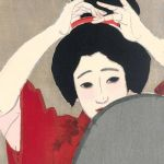 Winter: Before the mirror (1918) by Kitano Tsunetomi (1880-1947), from the series Four Seasons of the Pleasure Quarters, 39.5 x 26.1 cm