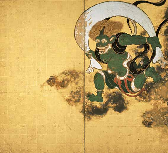Gods of Wind and Thunder by Tawaraya Sotatsu, Edo period, 17th century, pair of two-panel folding screens, ink and colours on gold leaf, Kyoto, 169.8 x 154.5 cm (each), Kennin-ji temple. National Treasure. Although these screens bear no inscription or seal, there is no doubt that they are the work of Tawaraya Sotatsu. The fact that these screens were replicated in works by Ogata Korin and, later, Sakai Hoitsu evidences their belief that these were painted by Sotatsu