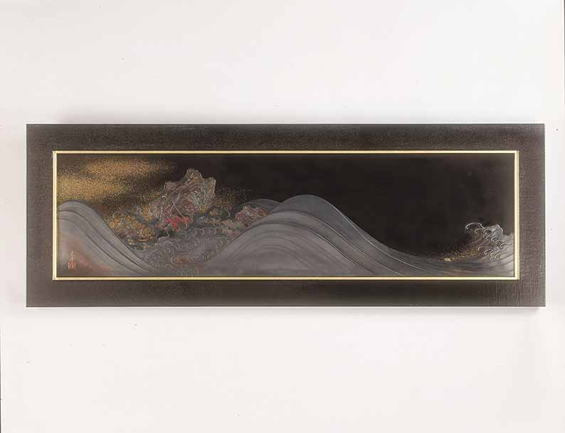 Two lobsters in the waves by Shibata Zeshin (1807-1891), black lacquer roiro, gold, and mother-of-pearl, circa 1888-1890