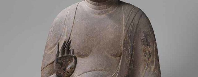 Amida (Amitayus) Buddha, the principal Buddha in Pure Land Buddhism, Japan, wood with traces of lacquer, height 87 cm, circa 1125/75, Rijksmuseum, Amsterdam,on loan from KVVAK