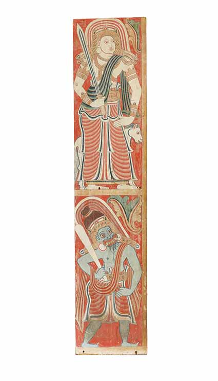 One of two panels from a Buddhist shrine, 17th/18th century, opaque watercolour on wood 151.77 x 33.03 x 1.27 cm, gift of Mr and Mr James Coburn III © Museum Associates/LACMA. The panel possibly include a depiction of Vibhishana, the demonic deity who is also considered the younger brother of Ravana, the demon king of Lanka from the Ramayana. Although he is venerated as a god within the Buddhist pantheon, Vibhishana holds a secondary position to ancient Hindu gods such as Vishnu and Shiva